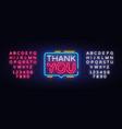 thank you neon text you neon sign vector image