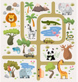 tropical maze with animals in safari park vector image