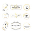 wedding invitation labels minimalist floral vector image vector image
