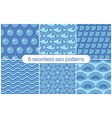 6 different seamless sea patterns tiling vector image vector image