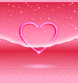 80s styled retro futuristic card with neon heart vector image vector image