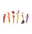 animated stationery characters set cute pens