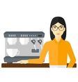 Barista standing near coffee maker vector image