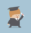 Businessman graduate in gown and graduation cap vector image