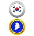 button as a symbol map SOUTH KOREA vector image