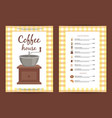 cartoon coffee house menu template vector image vector image