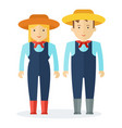 characters farmer man and a woman people in vector image