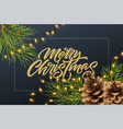 christmas background with pine branches and cone vector image