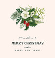 christmas floral card vector image vector image