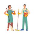 cleaners or janitors cleaning service workers set vector image