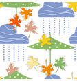 clouds and rain umbrellas and fall leaves flying vector image vector image