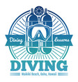 color diving club emblem or logo vector image vector image