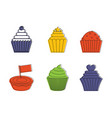 cupcake icon set color outline style vector image