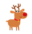 cute cartoon reindeer with red nose surprised vector image vector image