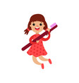 cute little girl character holding giant vector image vector image