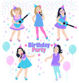 cute little girls at birthday party vector image
