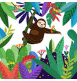 cute sloth funny in colorful forest cartoon vector image
