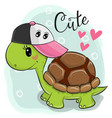 cute turtle on a blue background vector image