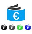 euro checkbook flat icon vector image vector image