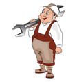 fat repairman carrying a spanner vector image vector image