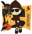 girl in Halloween vector image vector image