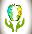 Green abstract apple and hands vector image vector image