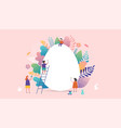 happy easter miniature people vector image vector image