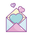 happy valentines day envelope message with hearts vector image