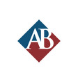 initial ab rhombus logo design vector image vector image