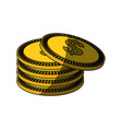 isolated gold coins vector image vector image
