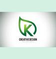 k leaf logo letter design with green leaf outline vector image vector image