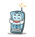 laughing face phone character cartoon style vector image vector image