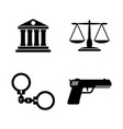 law justice simple related icons vector image