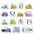 lazy weekends people flat icon set vector image