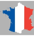 map france with an official national flag vector image