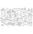 medical instruments and doctor bag pills and vector image