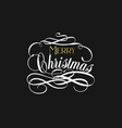 merry christmas hand lettering in gold and white vector image vector image