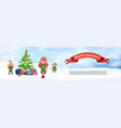 merry christmas horizontal banner cute elfs and vector image vector image