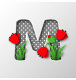 paper cut letter m with poppy flowers vector image