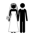 pictogram of wedding couple with costumes vector image vector image