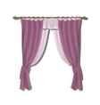 Pink kitchen curtains on the ledge decor vector image