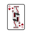 queen of hearts french playing cards related icon vector image vector image