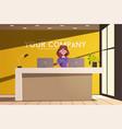 reception desk hotel receptionist character vector image vector image