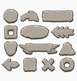 rock cartoon interface buttons set vector image vector image