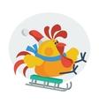 Rooster Bird Skate on Sledge Cock in Santa s Hat vector image vector image