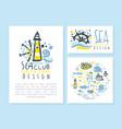 sea club original design card templates set vector image vector image