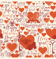 seamless pattern with hearts and love lettering vector image vector image