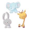set baby elephant bunny and giraffe cartoon vector image