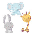 set baelephant bunny and giraffe cartoon vector image vector image
