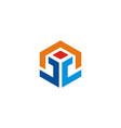 shape 3d technology logo vector image vector image